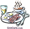 Vector Clipart image  of a breakfast of bacon & eggs with coffee