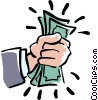 Vector Clip Art image  of a fistful of dollars