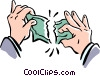 Vector Clipart illustration  of a tearing money apart