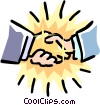 Vector Clip Art graphic  of a golden handshake