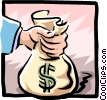 hands, holding money bag Vector Clip Art graphic