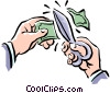Vector Clip Art graphic  of a cutting money
