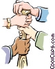 Vector Clip Art image  of a hands on bat