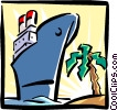 Vector Clip Art graphic  of a vacation/ocean liner
