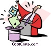 Vector Clipart graphic  of a pulling tricks out of the hat