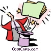 Vector Clip Art image  of a Pulling tricks out of the hat