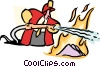 putting out the fire Vector Clipart illustration