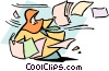 Vector Clip Art image  of a getting swept away