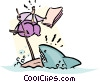 Vector Clipart graphic  of a trying to stay afloat
