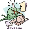 Vector Clip Art picture  of a doing everything at the same