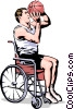 Vector Clipart picture  of a Wheelchair basketball player shooting