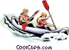 People Kayaking Vector Clipart graphic