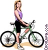 Woman on bicycle Vector Clip Art image