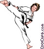Martial artist performing kick Vector Clip Art picture
