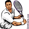 Male tennis player Vector Clipart illustration