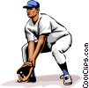 Vector Clip Art image  of a Baseball player fielding the
