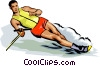 Vector Clip Art picture  of a Water skiers