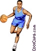 Basketball player dribbling ball Vector Clipart graphic