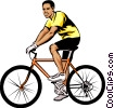 Vector Clipart graphic  of a Man on bicycle
