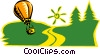 Vector Clip Art graphic  of a hot air ballooning