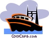 Vector Clip Art image  of a Commercial fishing boat
