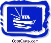 Vector Clip Art graphic  of a boat in picture frame