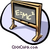 Vector Clip Art image  of a Black board E=MC2
