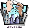 conversation between two offices Vector Clipart picture
