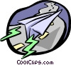 Vector Clip Art image  of a paper airplane
