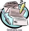 letter writing equipment Vector Clipart illustration