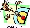 hitting the bull's-eye splitting the arrow Vector Clip Art picture