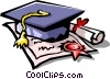 diploma with graduate's cap Vector Clipart picture