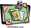 desktop with coffee cup and notepad Vector Clipart graphic