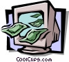 computer monitor with dollar bills Vector Clip Art image