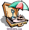 Vector Clipart graphic  of a briefcase business vacation