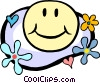 happy face in flower power motif Vector Clipart illustration