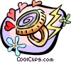 mood ring with 60's flower power motif Vector Clipart picture