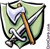 axe and sword Vector Clipart image