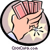 hands holding cards Vector Clip Art picture