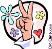 peace sign/hand Vector Clip Art graphic