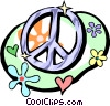 60's style peace sign with flower power symbols Vector Clip Art graphic