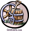 wagon wheel, pitchfork and barrel Vector Clipart picture