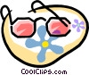 Vector Clipart image  of a granny glasses with flower power
