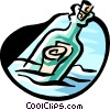 Vector Clip Art picture  of a message in a bottle