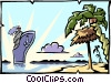 Vector Clipart illustration  of a vacation/cruise ship
