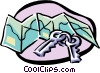 Vector Clip Art picture  of a travel/map and keys