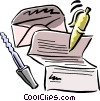 letter with pen and letter opener Vector Clipart illustration