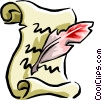 Vector Clip Art graphic  of a manuscript with quill pen