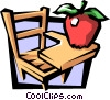 Vector Clip Art graphic  of a School desk with apple