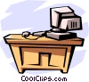 Vector Clip Art graphic  of a desk with computer